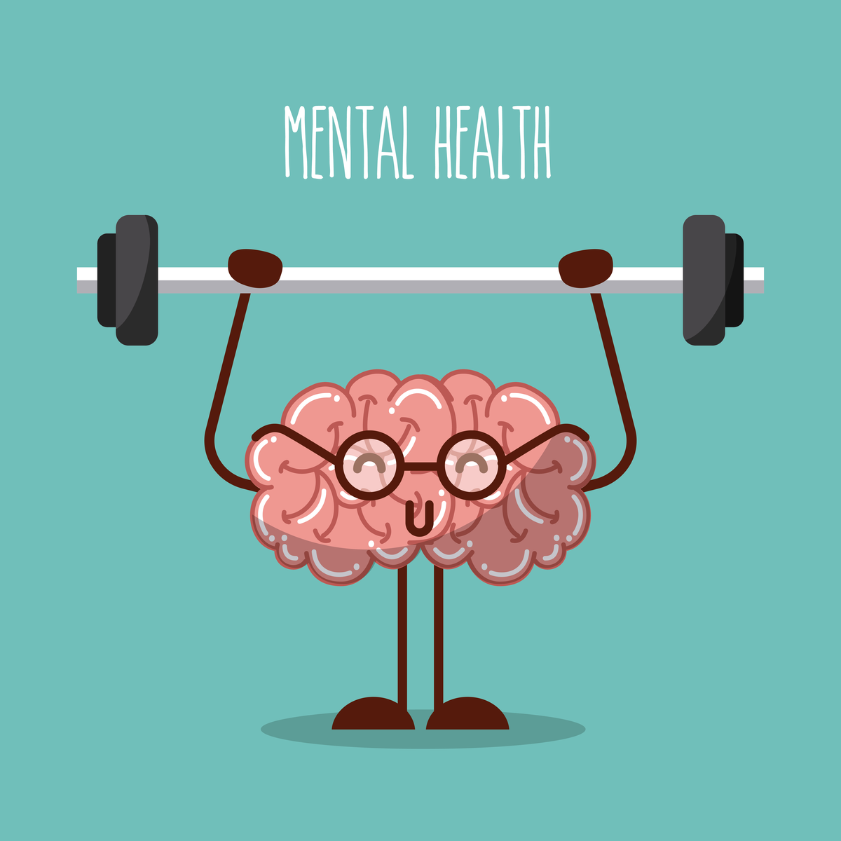 Cartoon brain illustration lifting weights